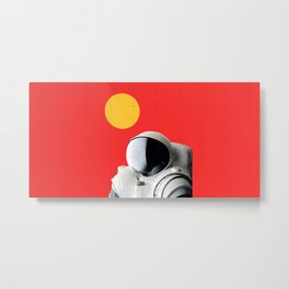 Astronaut Portrait on Red Background Metal Print
