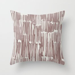 Simply Bamboo Brushstroke Red Earth on Lunar Gray Throw Pillow