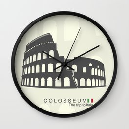 illustration of Roman Colosseum isolated on white background Wall Clock