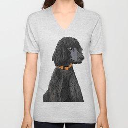 Misza the Black Standard Poodle Unisex V-Neck