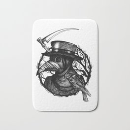 Plaguedoctor Black and White Illustration Bath Mat