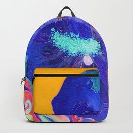 Birthday Acrylic Blue Orange Hibiscus Flower Painting with Red and Green Leaves Backpack