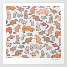 Funny Rodents Pattern Art Print