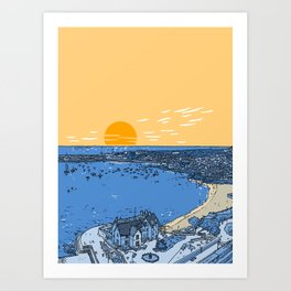 Cascais Bay-Portugal-Beach-Sunset-Landscape Art Print