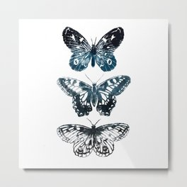 Butterfly Tattoo in Black and Blue Metal Print