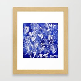 Hearts in blue and white Framed Art Print