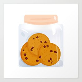 Chocolate chip cookie, homemade biscuit in glass jar Art Print
