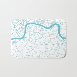 London White on Turquoise Street Map Bath Mat