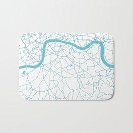 London White on Turquoise Street Map Bath Mat