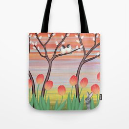 chickadees, pussy willow, & tulips Tote Bag