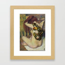Flowers in her body Framed Art Print