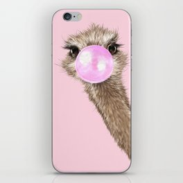 Sneaky Ostrich with Bubble Gum in Pink iPhone Skin