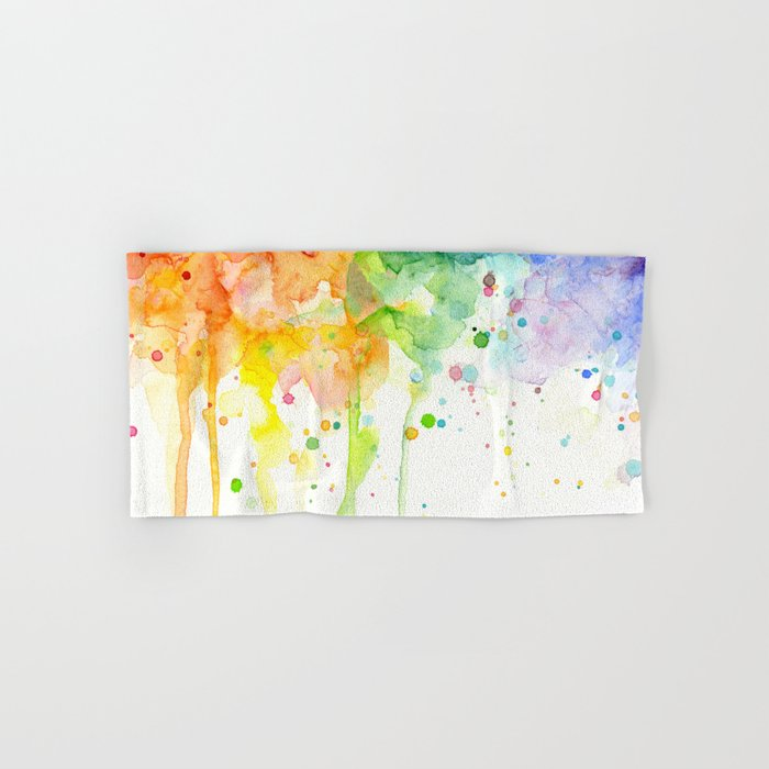 Rainbow Watercolor Pattern Texture Hand & Bath Towel