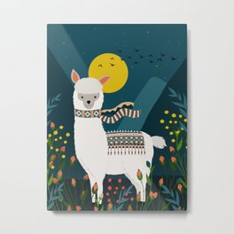 Alpaca Print, Alpaca Wall Art, Modern, original art, art print, Alpaca poster, lama print Metal Print