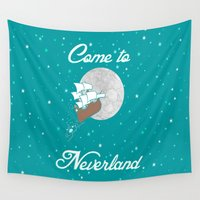 neverland Wall Tapestries featuring Disney's Peter Pan Neverland in Teal and Mint by foreverwars