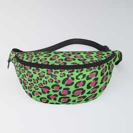 Punk rock, Pink Green leopard print, animal print, safari, psychobilly Fanny Pack