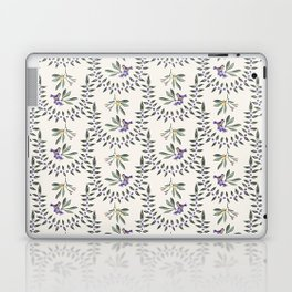 Natural Olive Leaf Berry Birds on Branch Laptop & iPad Skin