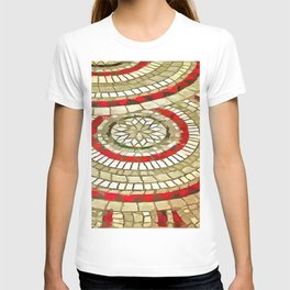 Mosaic Circular Pattern In Red and Gold T-shirt