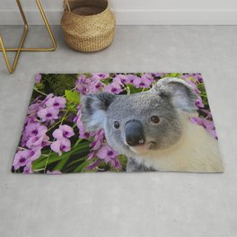 Koala and Orchids Rug
