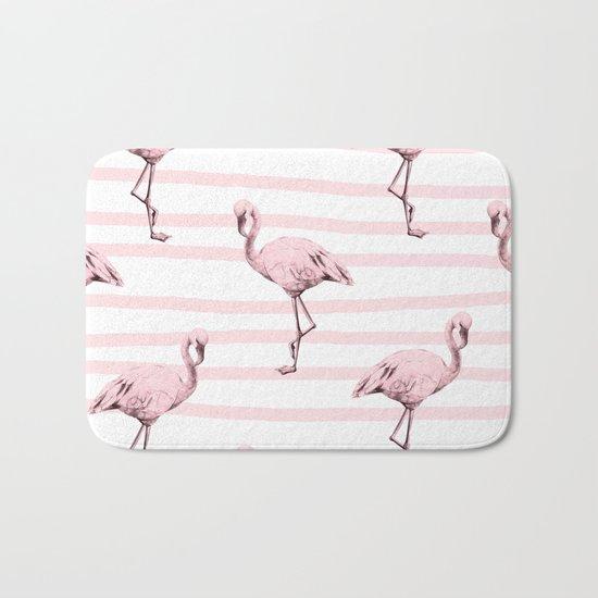 Flamingos on Drawn Stripes in Pink Flamingo Bath Mat