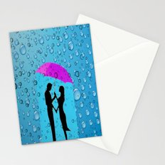 Couple In The Rain Stationery Cards