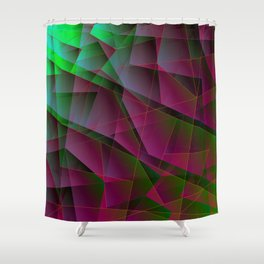 Abstract dark pattern of lilac and overlapping green triangles and irregularly shaped lines. Shower Curtain