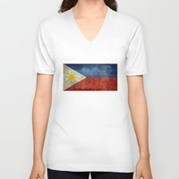 philippines V-neck T-shirts featuring Republic of the Philippines national flag (50% of commission WILL go to help them recover) by LonestarDesigns2020 is Modern Home Decor