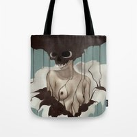 death Tote Bags featuring Death By Chocolate by Ruben Ireland