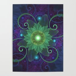 Glowing Blue-Green Fractal Lotus Lily Pad Pond Poster