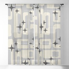 Retro Mid Century Modern Abstract Pattern 576 Gray Black Sheer Curtain