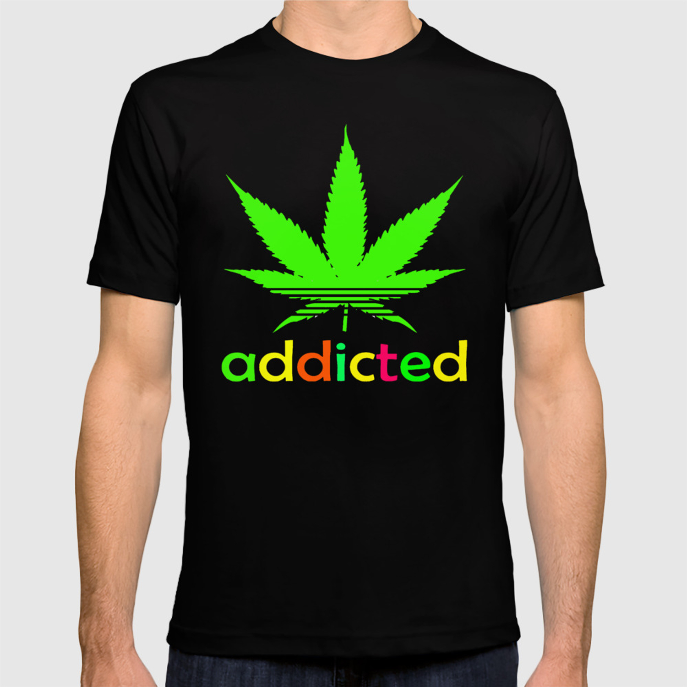 49d689b3a Addicted Marijuana Plant Funny T-Shirt 420 Cannabis Weed Pot Dope Stoner  Khalifa T-shirt