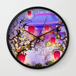 Pink lanterns with cherry blossom and mountain temple Wall Clock