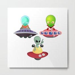 Three flying Aliens Metal Print