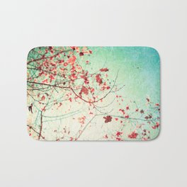 Even in Dreams, Atumn Fall, Textured Sky, Vintage Nature, Blue Pink Red  Bath Mat