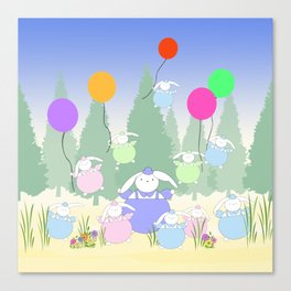 Fat Bunnies and Balloons Canvas Print