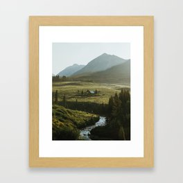 Secluded cabin on the bend in Crested Butte Framed Art Print