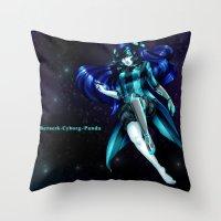 berserk Throw Pillows featuring Berserk Cyborg Panda by Berserk Cyborg Panda