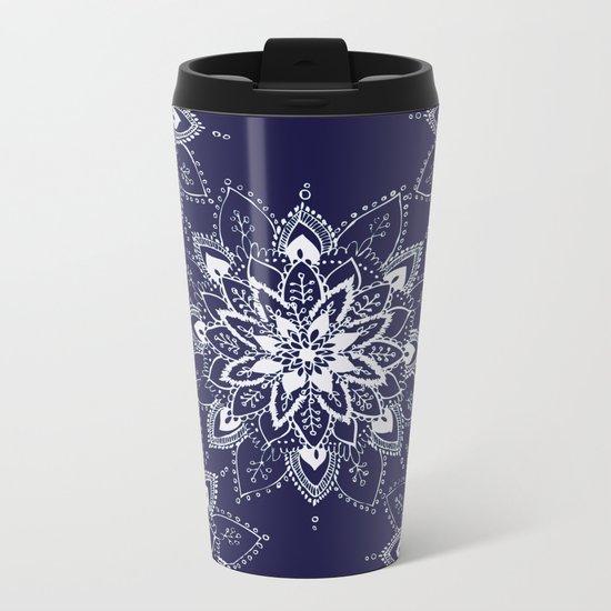 Blue Mandala  Metal Travel Mug