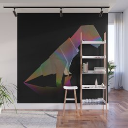 Holographic Origami Dinosaur T-Rex Statue Wall Mural