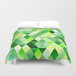 Lime Green Yellow White Diamond Triangles Mosaic Pattern Duvet Cover