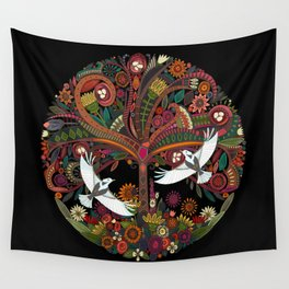tree of life black Wall Tapestry