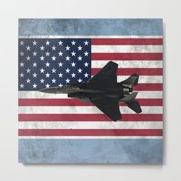 F15 Fighter Jet American Flag Metal Print
