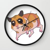 hamster Wall Clocks featuring Hamster by Suzanne Annaars