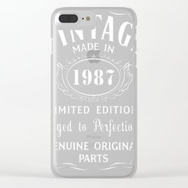 30th-Birthday-Gift-Idea-T-Shirt-Vintage-Made-In-1987 Clear iPhone Case