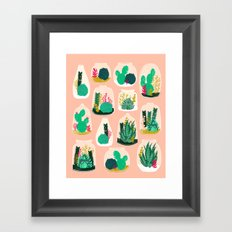 Terrariums - Cute little planters for succulents in repeat pattern by Andrea Lauren Framed Art Print