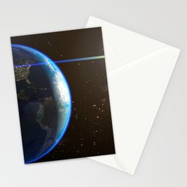 Night Lighted Earth from space Stationery Cards