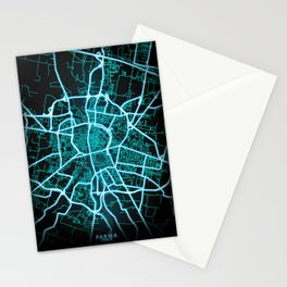 Parma, Italy, Blue, White, Neon, Glow, City, Map Stationery Cards