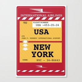 New York City Plane Ticket Canvas Print