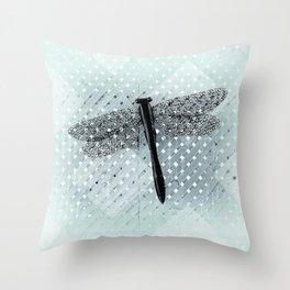 Big Teal Dragonfly and Asymmetrical Lattice Throw Pillow