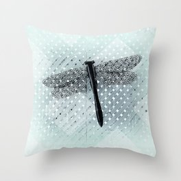 Boho Dragonfly on Light Turquoise Lattice Fence Pattern Throw Pillow